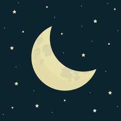 half moon on starry night background vector illustration EPS10