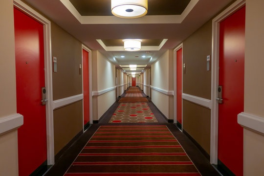 POV of walking in long corridor