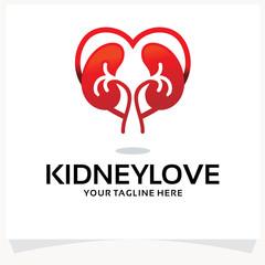 Kidney Love Logo Design Template Inspiration