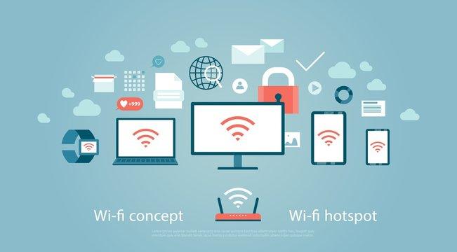Wi-fi hotspot Wireless internet computer device cybersecurity communication Vector