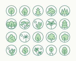 Trees, Plants Freen Line Icon. Vector Illustration Flat style. Included Icons as Fir Tree, Palm Park, Desert, Cactus, Bush, Forest and more