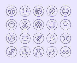 Sports Equipment Line Icon. Vector Illustration Flat style. Included Icons as Sport Balls, Basketball, Handball, Football, Badminton, Dumbbell and more. Editable Stroke