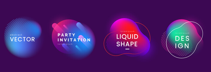 Set of abstract liquid banners in different neon colors. Modern fluid gradient elements with light effect. Abstract backgrounds for club party invitation, web, advertisement. Vector eps 10. Wall mural
