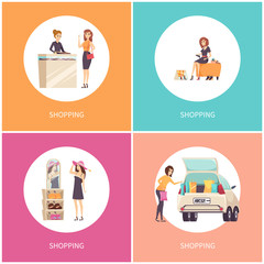 Shopping Women, Jewelry Store and Shoe Shop Vector