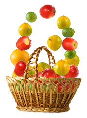 Fototapete - isolated image of fruit and basket