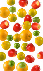 Fototapete - isolated image of lemon, apple and oranges close up