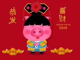 Cute pig with hanfu costum for 2019.vector illustrator