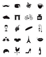 France, Paris vector icon set.