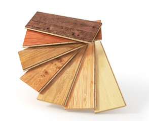 Obraz Floorboard with different texture coating. 3d illustration - fototapety do salonu
