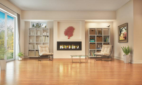 Living room with wooden floor and fireplace. 3d illustration