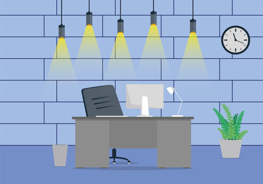 Design of a modern office workplace design with a clock on the wall