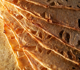 background of slices of dried pineapple