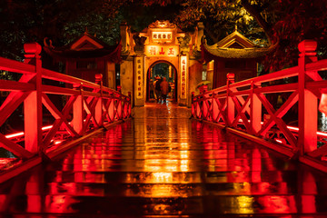 Canvas Prints Place of worship Ngoc Son Temple. Hanoi city old town at night, Vietnam