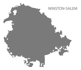Winston-Salem North Carolina city map grey illustration silhouette