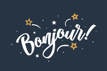 Bonjour lettering card, banner. Beautiful greeting scratched calligraphy white text word stars. Hand drawn invitation print design. Handwritten modern brush blue background isolated vector