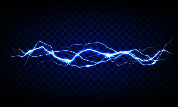 Blue vector lightning on transparent background. Realistic vector illustration