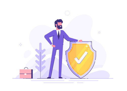Man is holding a shield covering from attacks. Protection, insurance,  from business  dangers concept. Modern vector illustration.