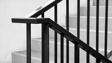closeup steel railing in the house - monochrome