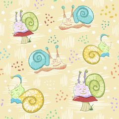 Snails seamless pattern. Cartoon hand-drawn snails. Sleeping snails. Children background. Watercolor.
