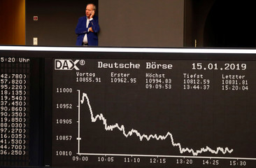 The German share prize index DAX board is photographed early afternoon on the day of the Brexit deal vote of the British parliament in Frankfurt
