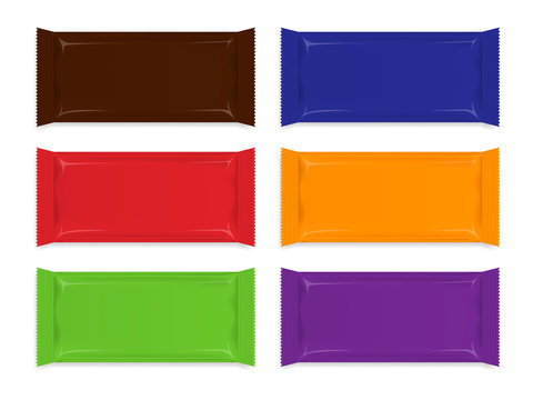 Multicolored blank snack glossy packaging wrapper - template