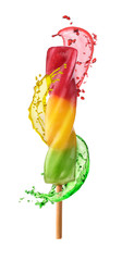 multicolored frozen juice with a splash