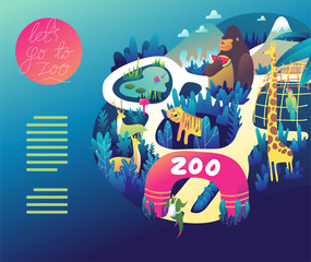 Zoo colorful illustration in vector