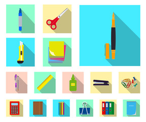 Vector design of office and supply symbol. Set of office and school vector icon for stock.