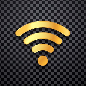 Golden wifi vector icon. Gold wi fi wireless sign. Isolated wi-fi logo on transparent background
