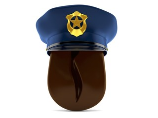 Coffee bean with police hat