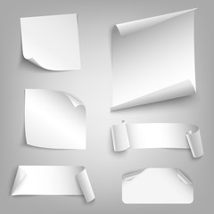 Collection white curved papers design elements