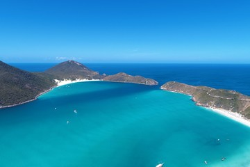 Arraial do Cabo, Brazil: Aerial view of a paradise sea with crystal water. Fantastic landscape. Great beach view. Brazillian Caribbean.