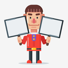 Cartoon man character with red shirt holding two whiteboard sign