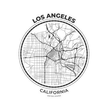 T-shirt map badge of Los Angeles, California