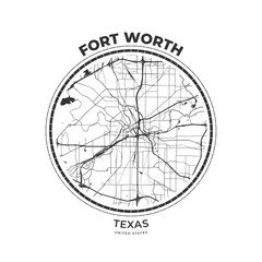 T-shirt map badge of Fort Worth, Texas