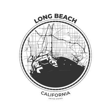 T-shirt map badge of Long Beach, California