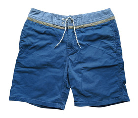 Blue denim shorts isolated