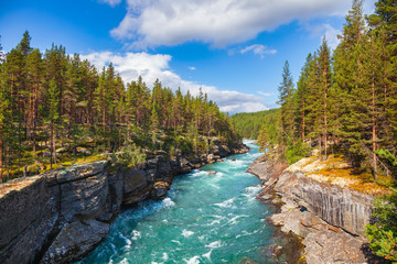 Ridderspranget ravine at Sjoa river Oppland Norway Scandinavia