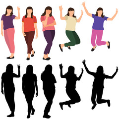 vector, isolated, silhouettes of girls jumping, flat style, set