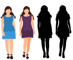set of girls silhouettes coming