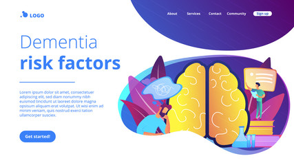 Patient with thought bubble and doctor examining brain. Alzheimer disease and dementia, dotage and memory loss concept on white background. Website vibrant violet landing web page template.