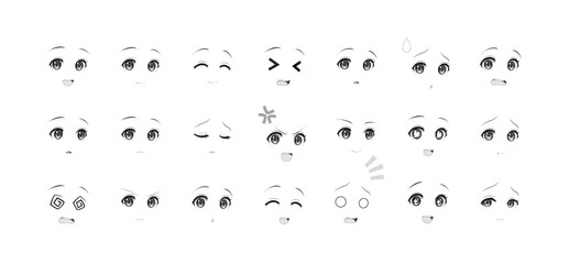 Black and white emotions eyes of anime manga girls