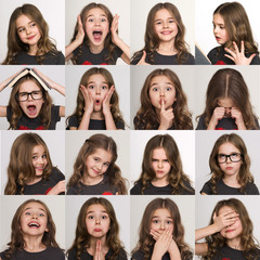 Set of emotional portraits of child girl