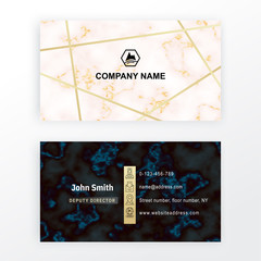 Business card. Vector white black marble stone background.