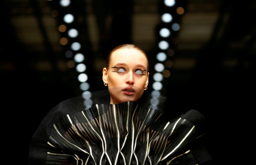 A model presents creation by Irene Luft during the Berlin Fashion Week Autumn/Winter 2019/20 in Berlin