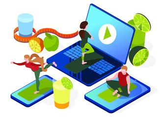 Online yoga. People in asanas standing on smart phone, laptop, tablet. Isometric flat design. Digital web banner, presentation, illustration on white background. Healthy lifestyle