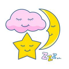 Cute sleeping cloud, star and moon icons set.