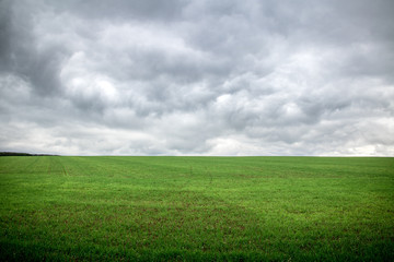 grey storm clouds above green grass field