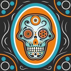 Day of The Dead mexican colorful sugar skull.