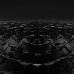 Abstract wave form hexagonal background. Grunge Polygonal Hex geometry dark surface . Futuristic technology black texture concept. 3d Rendering.